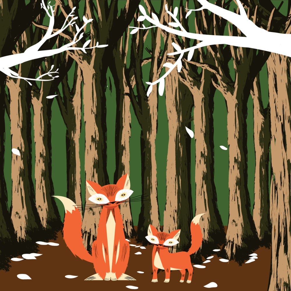 8 INCH FELT SQUARE,  FOX AND CUB IN WOODS.