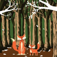 8 INCH FELT SQUARE,  FOX AND CUB IN WOODS. 59