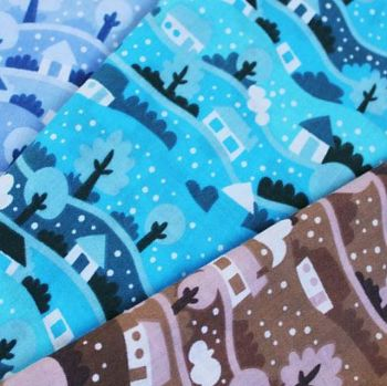 CHRISTMAS WINTER STREET SCENE POLY COTTON