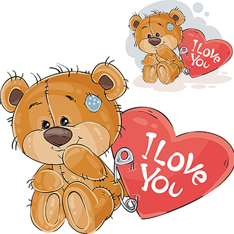 8 INCH FELT SQUARE,  TEDDY BEAR WITH I LOVE YOU HEART. 105