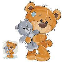 8 INCH FELT SQUARE,  TEDDY BEAR WITH TOY TEDDY. 106