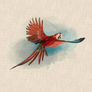 """18"""" X 18"""" LINEN COTTON PRINTED PANEL, RED PARROT."""