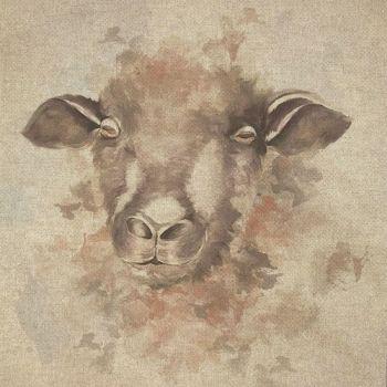 "18"" X 18"" LINEN COTTON PRINTED PANEL, SHEEP."