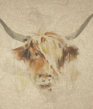 "18"" X 18"" LINEN COTTON PRINTED PANEL, HIGHLAND COW."