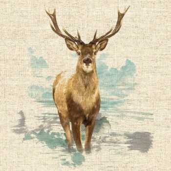 """18"""" X 18"""" LINEN COTTON PRINTED PANEL, STAG."""