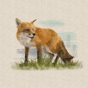 "18"" X 18"" LINEN COTTON PRINTED PANEL, FOX."