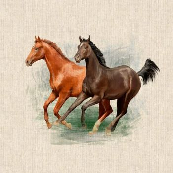 """18"""" X 18"""" LINEN COTTON PRINTED PANEL, GALLOPING HORSES."""