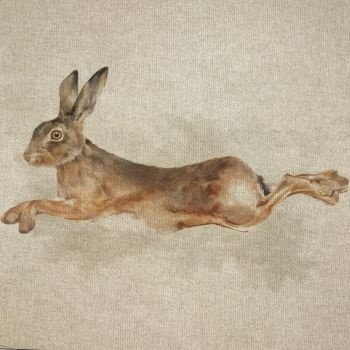 """18"""" X 18"""" LINEN COTTON PRINTED PANEL, LEAPING HARE."""
