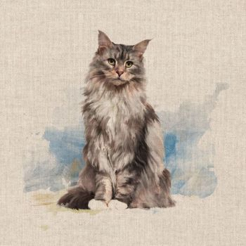 """18"""" X 18"""" LINEN COTTON PRINTED PANEL, MAINE COON CAT."""