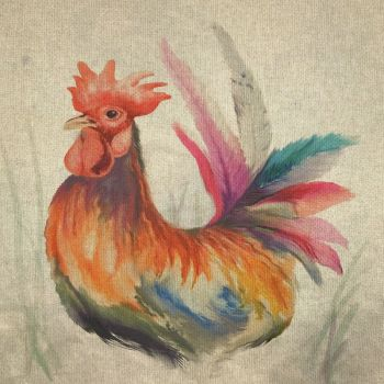 """18"""" X 18"""" LINEN COTTON PRINTED PANEL, ROOSTER."""