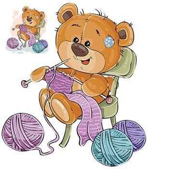 8 INCH FELT SQUARE,  TEDDY BEAR KNITTING SCARF 139