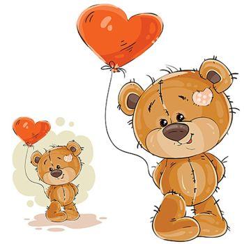 8 INCH FELT SQUARE,  TEDDY BEAR WITH HEART BALLOON 140