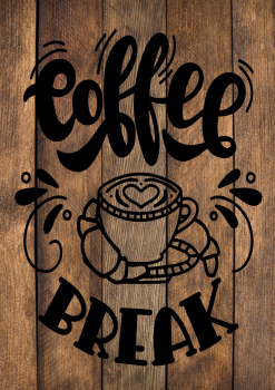 13 INCH X 8 INCH FELT PANEL, COFFEE BREAK. 143