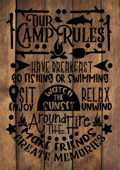 13 INCH X 8 INCH FELT PANEL, OUR CAMP RULES. 149