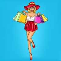8 INCH FELT SQUARE,  POP ART FULL LENGTH WOMAN WITH SHOPPING 155