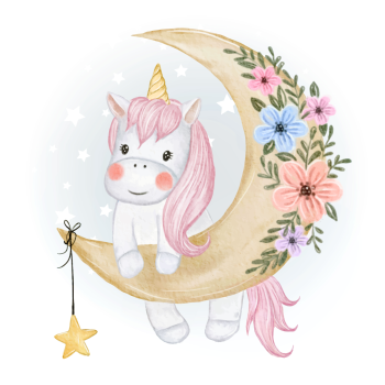 8 INCH FELT SQUARE,  BABY UNICORN ON FLORAL MOON 161