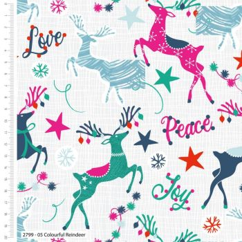COLOURFUL REINDEER CRAFT COTTON COMPANY, 100% COTTON.