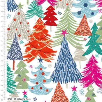 COLOURFUL CHRISTMAS TREES CRAFT COTTON COMPANY, 100% COTTON.