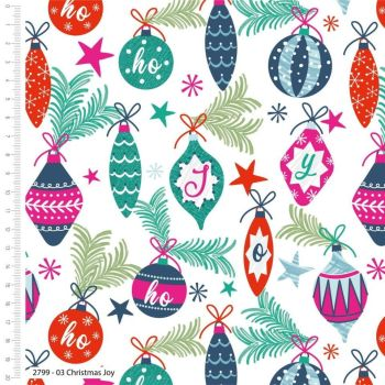 COLOURFUL CHRISTMAS BAUBLES CRAFT COTTON COMPANY, 100% COTTON.