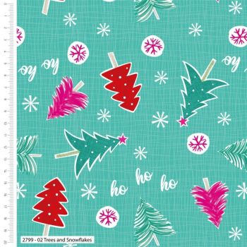 CHRISTMAS TREES AND SNOWFLAKES CRAFT COTTON COMPANY, 100% COTTON.