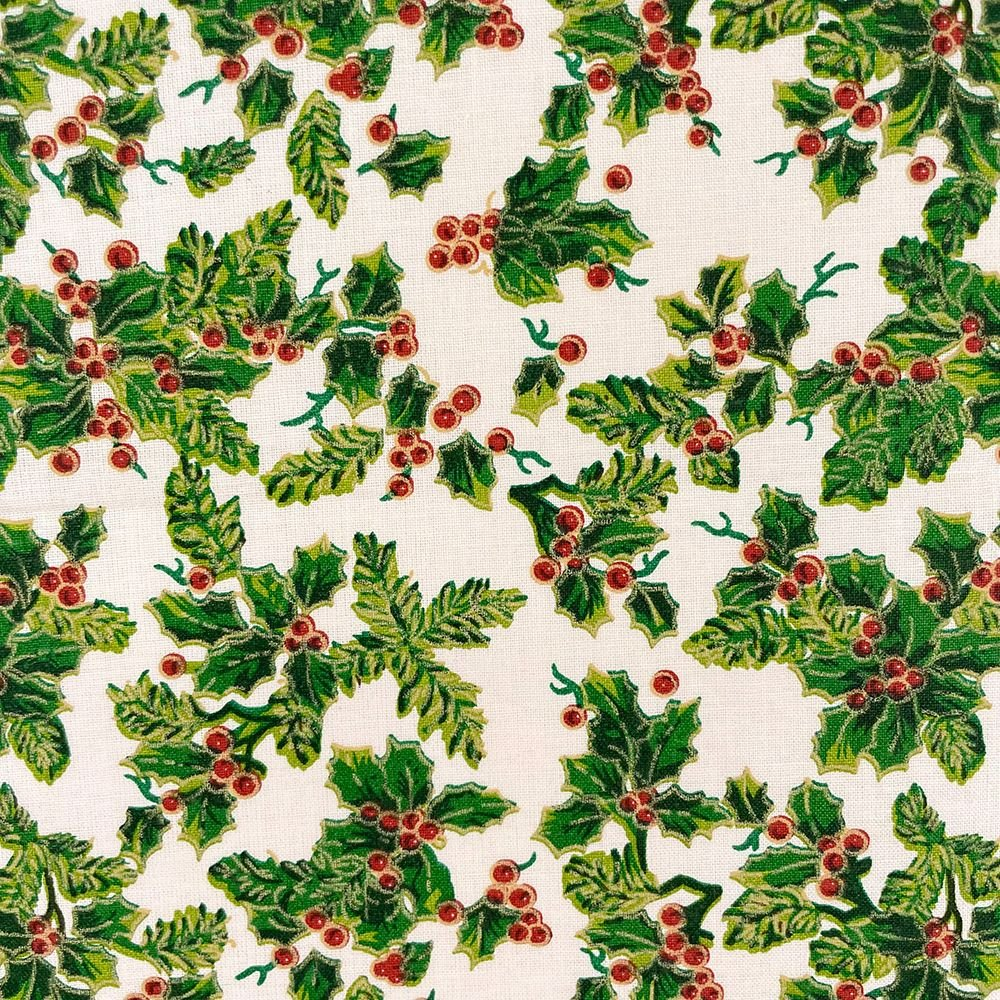 HOLLY ON CREAM, 140 CMS WIDE, 100% COTTON. MED WEIGHT.