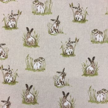 CHATHAM GLYN NEW CRAFTY LINEN CURTAIN FABRIC, HARES.