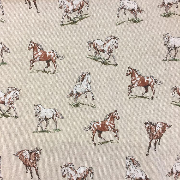 CHATHAM GLYN NEW CRAFTY LINEN CURTAIN FABRIC, HORSES.