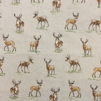 CHATHAM GLYN NEW CRAFTY LINEN CURTAIN FABRIC, STAGS.