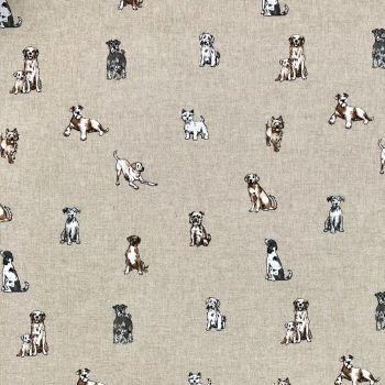 CHATHAM GLYN NEW CRAFTY LINEN CURTAIN FABRIC, SHABBY DOGS.