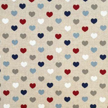 CHATHAM GLYN NEW CRAFTY LINEN CURTAIN FABRIC, HEART NAUTICAL.