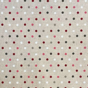 CHATHAM GLYN NEW CRAFTY LINEN CURTAIN FABRIC, DOTS BERRY.