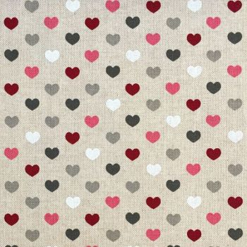 CHATHAM GLYN NEW CRAFTY LINEN CURTAIN FABRIC, HEARTS BERRY.