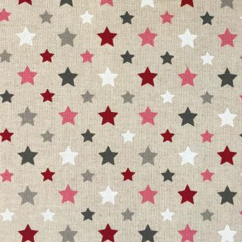 CHATHAM GLYN NEW CRAFTY LINEN CURTAIN FABRIC, STARS BERRY.