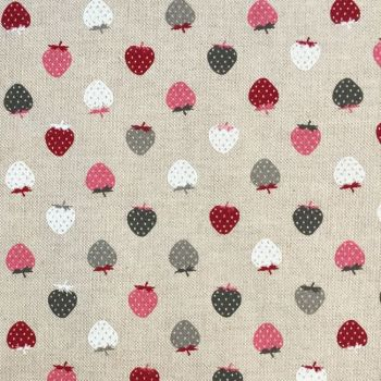 CHATHAM GLYN NEW CRAFTY LINEN CURTAIN FABRIC, STRAWBERRIES BERRY.