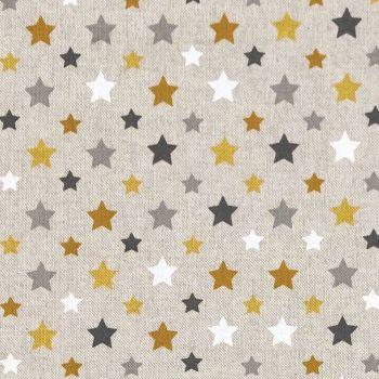 CHATHAM GLYN NEW CRAFTY LINEN CURTAIN FABRIC, STARS OCHRE.