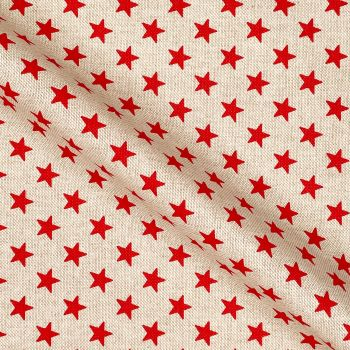 CHATHAM GLYN NEW CRAFTY LINEN CURTAIN FABRIC, STARS IN GREY, RED OR WHITE.