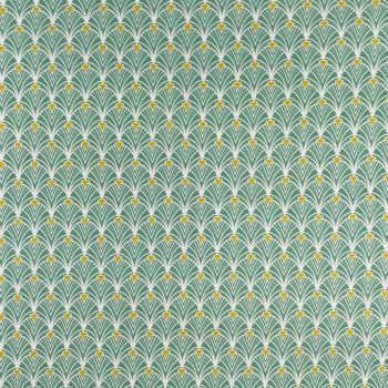 COTTON PANAMA FOR CURTAINS AND SOFT FURNISHINGS. ART DECO TEAL.