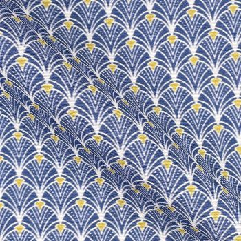 COTTON PANAMA FOR CURTAINS AND SOFT FURNISHINGS. ART DECO BLUE.