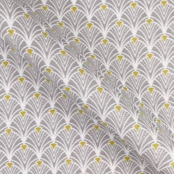 COTTON PANAMA FOR CURTAINS AND SOFT FURNISHINGS. ART DECO SILVER GREY.