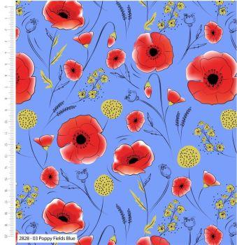 POPPY FIELDS BLUE BY CRAFT COTTON COMPANY, 100% COTTON.