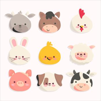 8 INCH FELT SQUARE,  CUTE NURSERY THEME FARM ANIMALS 164