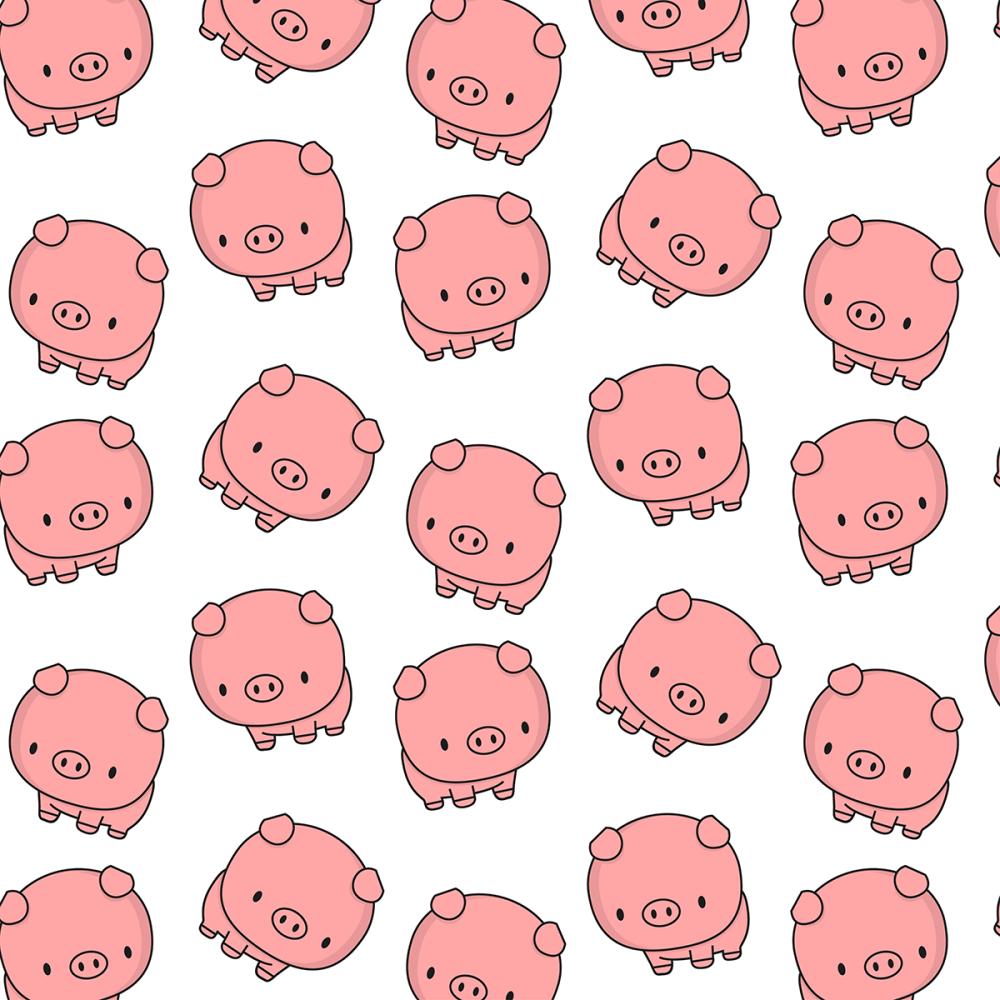 8 INCH FELT SQUARE,  CUTE NURSERY STYLE PIGS 165