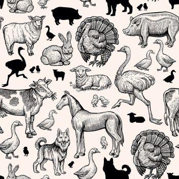 8 INCH FELT SQUARE,  VINTAGE STYLE LINE DRAWING FARM ANIMALS 174