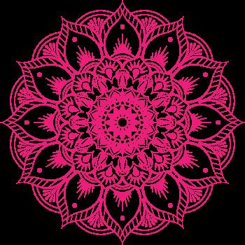 8 INCH FELT SQUARE,  PINK MANDALA FLOWER 178