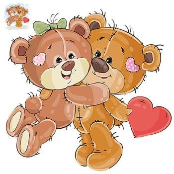8 INCH FELT SQUARE, TEDDY BEARS CUDDLE HEART 198
