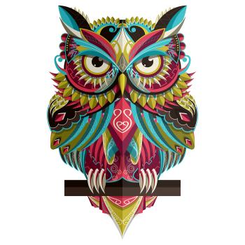8 INCH FELT SQUARE, MANDALA OWL PERCH 206