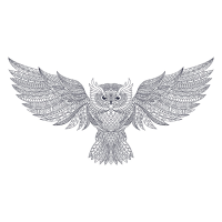 8 INCH FELT SQUARE, INTRICATE LINE DRAWING OWL 207
