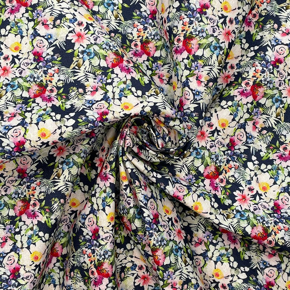 100% COTTON, 140 CMS WIDE, 150GSM. VINTAGE FLORAL, SMALL ROSES NAVY.
