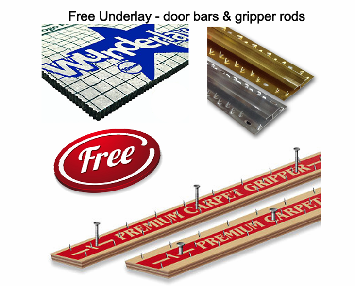 Free gripper rods, underlay and door bars from Carpets Weekly