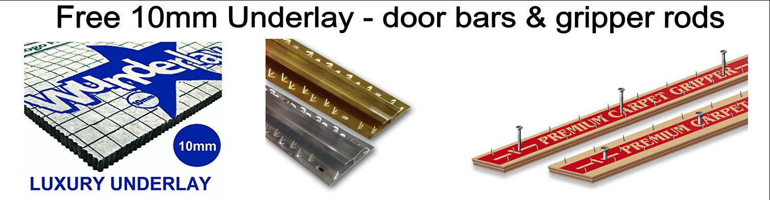 Free Gripper Rods, Door Trims and Underlay.